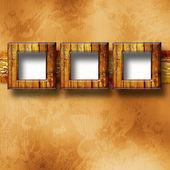 Old gold frames Victorian style on the wall in the room — Stock Photo