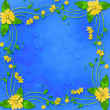 Stock Photo: Congratulations to the holiday with frame and yellow flowers