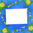 Congratulations to the holiday with frame and yellow flowers — Stock Photo