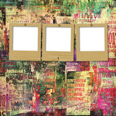 Paper slides with old torn posters on the grunge abstract backgr — Stock Photo