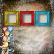 Stock Photo: Old room, grunge interior with frames and roses in style baroqu