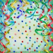 Abstract red background with streamers and confetti - Photo