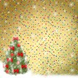 Card for congratulation. Christmas tree with balls and bows — Stock Photo #4240621