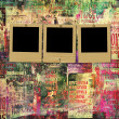 Stockfoto: Paper slides with old torn posters on grunge abstract backgr