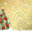 Card for congratulation. Christmas tree with balls and bows — Stock Photo