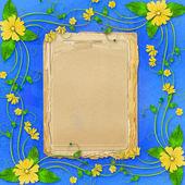 フレームと黄色の花と休日をお祝いの言葉 — ストック写真