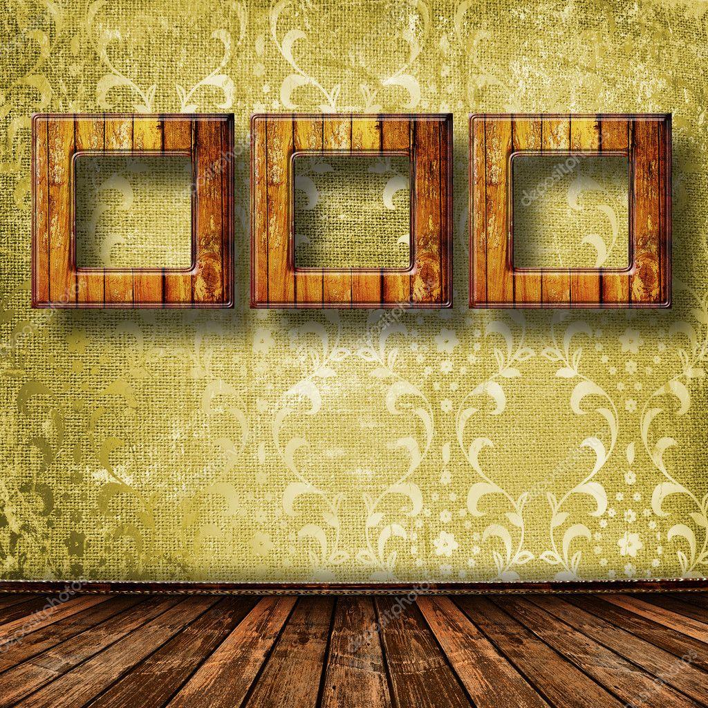 alte grunge zimmer mit holz bilderrahmen im viktorianischen stil stockfoto loraliu 4308606. Black Bedroom Furniture Sets. Home Design Ideas