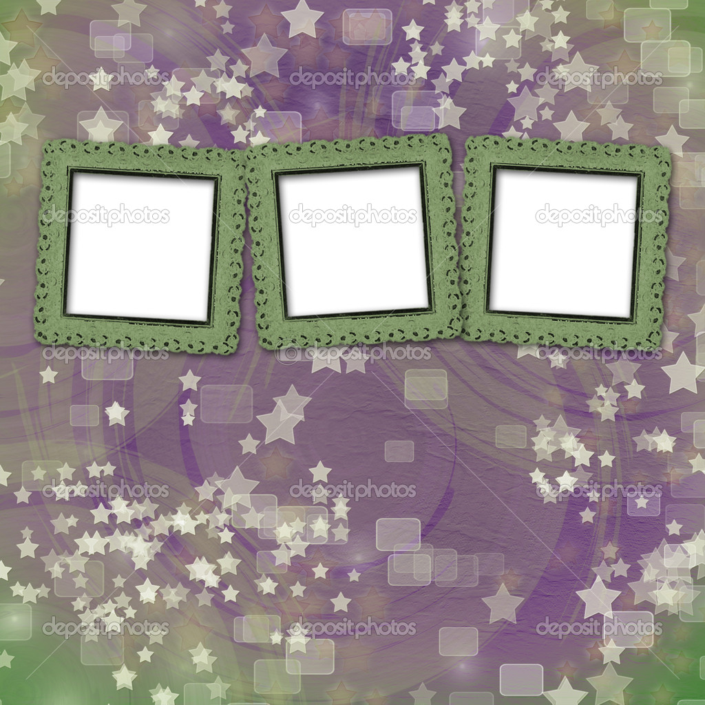 Multicoloured backdrop for greetings or invitations with frames and stars — Stock Photo #4363077