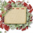 White isolated background with paper frame and bunch of twigs Ch - Stock Photo