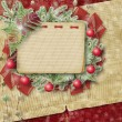 Abstract star background with notebook and bunch of twigs Christ — Foto Stock