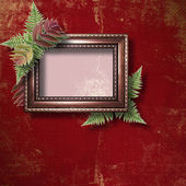 Abstract star background with wooden frame and bunch of fern — Stock Photo