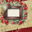 Card for congratulation with Christmas tree and stars - Стоковая фотография
