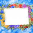 Card for congratulation with Christmas tree and stars - Stockfoto