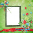 Card for congratulation with Christmas tree and stars - Stok fotoğraf