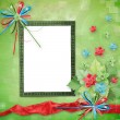 Card for congratulation with Christmas tree and stars - Foto Stock