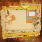 Abstract ancient brown background with set old paper in scrapboo — Stock Photo