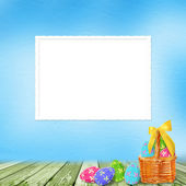 Pastel background with colored eggs to celebrate Easter — Stock Photo