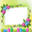 Pastel background with colored eggs and orchids to celebrate Eas - Foto Stock