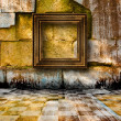 The old stone room with wooden picture frames in Victorian style — Stock Photo