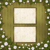 Grunge 纸剪贴风格束鲜花 — 图库照片
