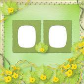 Marcos de papel grunge con calabazas de flores y cintas — Foto de Stock