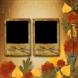 Grunge papers design in scrapbooking style with frame and autumn — ストック写真