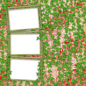 Grunge paper frames in scrapbooking style with leaves — Stock Photo