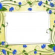 Congratulations to the holiday with frame and blue flowers — Stock Photo