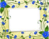 Gratulacje dla wakacje z ramki i niebieski kwiaty — Zdjęcie stockowe