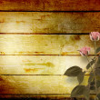 Stock Photo: Weathered wooden planks with pink beautiful roses