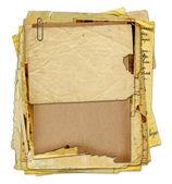 与信件的旧档案,照片上白色隔离艾菲尔铁塔的背景 — 图库照片
