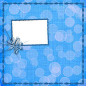 Card for invitation with blue bow and ribbons — Stock Photo