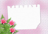 Card for invitation or congratulation with pink lilies — Stock Photo