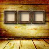 Old room, grunge interior with frames in style baroque — Foto Stock