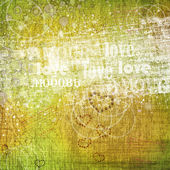 Grunge dřevěná stěna s písmeny a slovy pro interiér — Stock fotografie