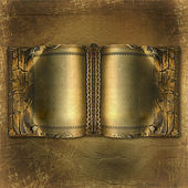 Old ancient book with gold pages on the abstract background — Stock Photo