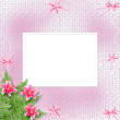 Card for invitation or congratulation with pink lilies — Stock Photo #5290389