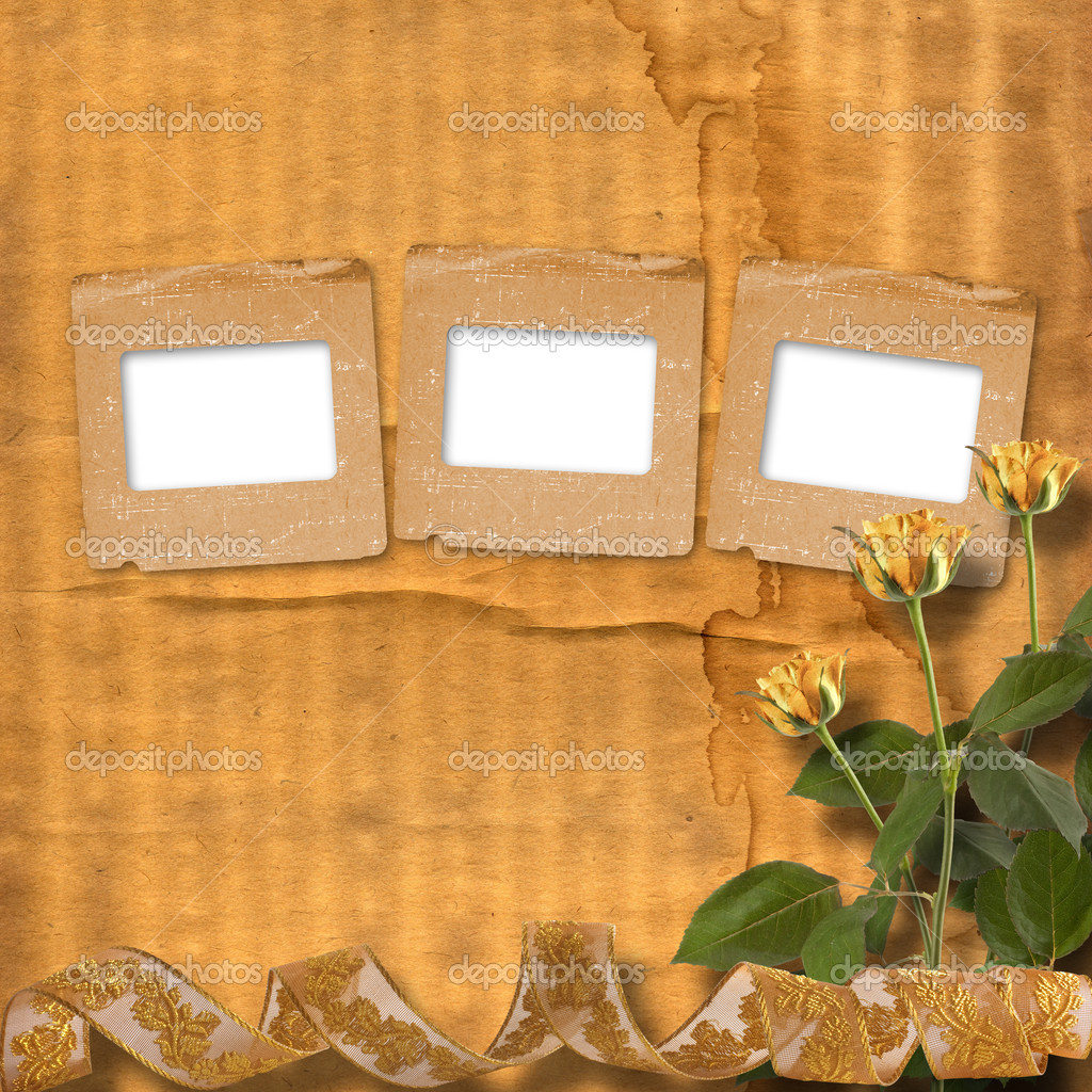 Grunge paper for congratulation with beautiful roses  Foto de Stock   #5303253