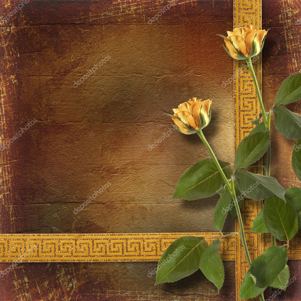 Grunge paper for congratulation with beautiful roses — ストック写真 #5303260