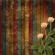 Stock Photo: Weathered wooden planks with cream beautiful roses