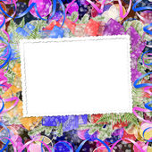 Abstract blur boke background with paper frame and bunch of twig — Stockfoto
