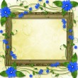 Wooden frame in the Victorian style with blue flowers — Stock Photo