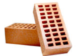Building red bricks — Stok fotoğraf
