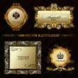 Glamour vintage gold frame decorative background - Stock Vector