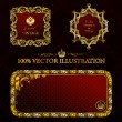 Royalty-Free Stock Vector Image: Glamour vintage gold frame decorative red black