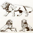 Heraldic animals lions old isolated - Stock Vector