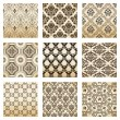 Set seamless wallpaper old flower decorative vintage — Stock vektor