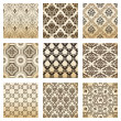 Set seamless wallpaper old flower decorative vintage - Stock Vector
