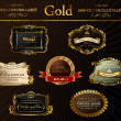 Stock vektor: Vector vintage set. Gold frames decorative label