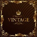 Vintage gold frame decorative background — Stock Vector
